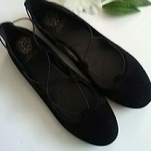 Vince Camuto suede leather flats black